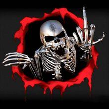 3d Автомобильная наклейка s Скелет Череп в отверстии пули забавные