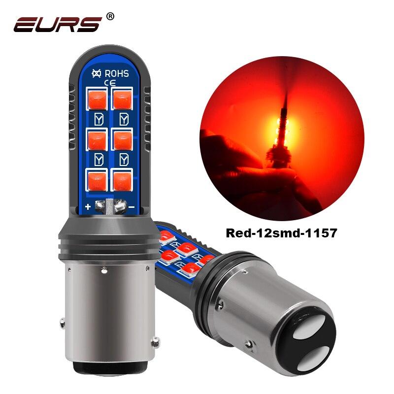 EURS 2 шт. 3030 12smd 1157 bay15d 1156 ba15s 1156 bau15s белый цвет красный, желтый проблесковый тормозной светильник светодиодный Реверсивный светильник 12V