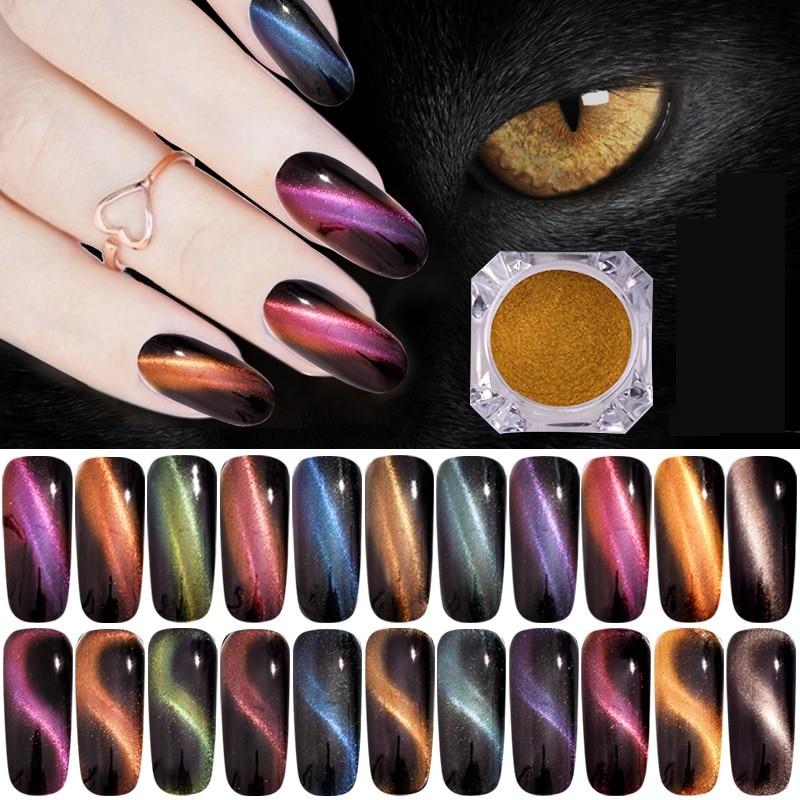 0.5g 3D Cat Eye Magnet Nail Glitter Magnetic Powder Magic Mirror Effect Pigment Dust UV Gel Polish Manicure Nail Art Decorations