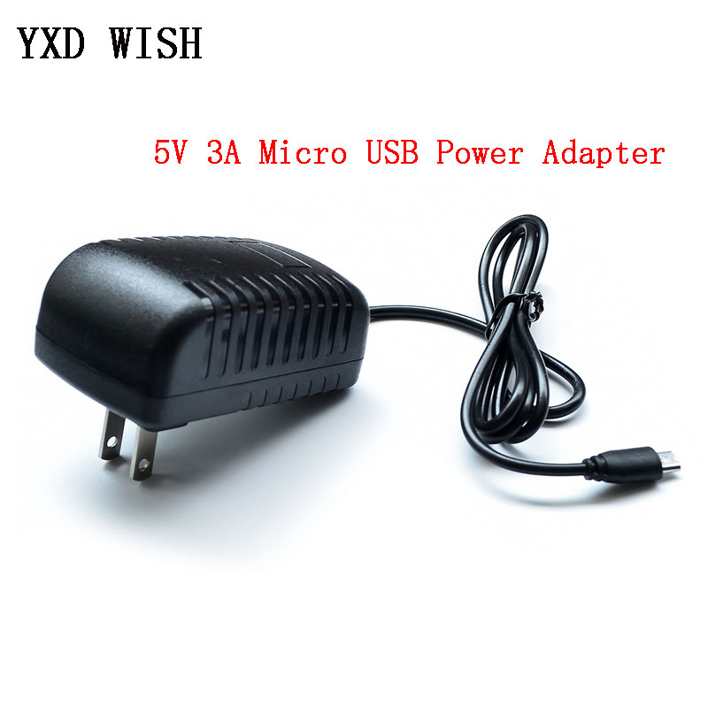 <font><b>AC</b></font> 100-240V <font><b>DC</b></font> 5V 3A Power Adapter Supply Charger Adapter 5V 3A US Plug Micro USB Port 5 <font><b>V</b></font> Volt For Raspberry Pi <font><b>3</b></font> Model B+ plus image