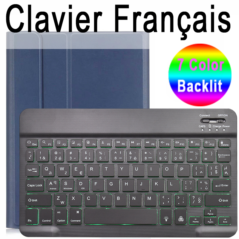 French Keyboard Lilac For iPad 10 2 2019 7 7th 8th Generation A2200 A2198 A2197 Case with Backlit Keyboard