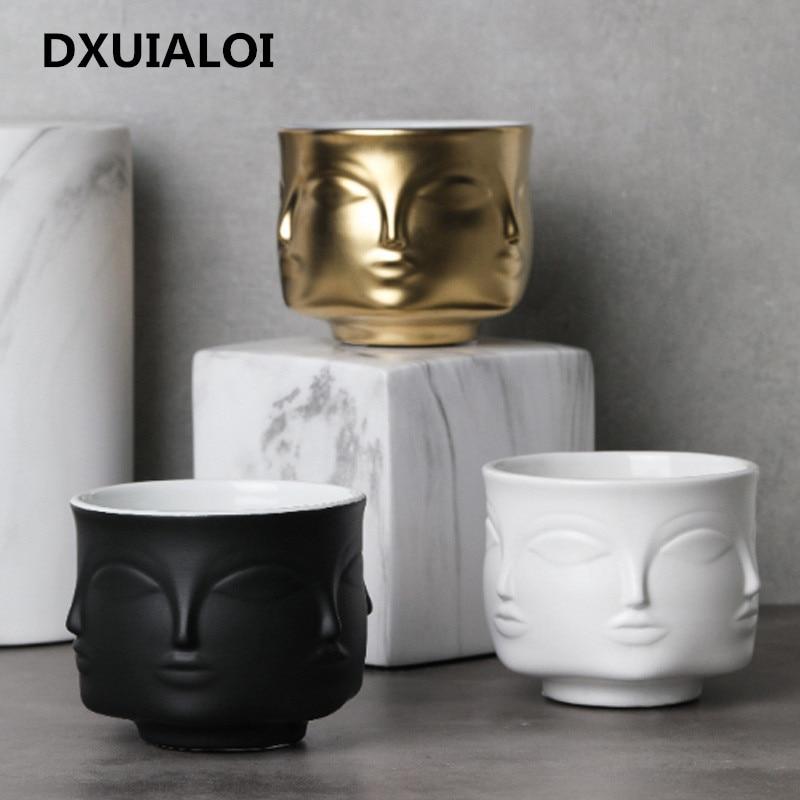 Nordic style Ceramic vase face design Ceramic vase home decor accessories tools Black White Gold plant pot flower pot