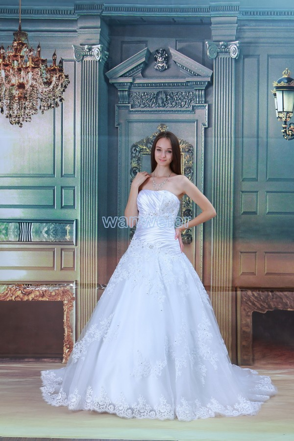 Free Shipping 2016 New Design Hot Seller Small Train Ball Gown White/ivory Custom Size/color Bridal Dress Lace Up Wedding Dress