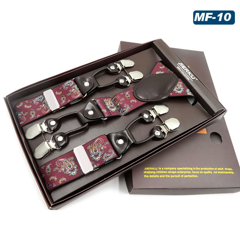 Men's Suspenders Belt With 6 Buckle Y Strap Adjustable Strap Luxury Pants Elastic Strap 6 Clips Heavy Men's Strap Men's Strap