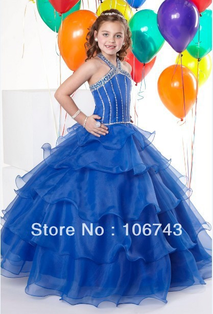 Free Shipping 2016 Vestido Rendado Halter Blue Pageant Ball Dance Party Princess Gown Formal Flower Girl Dresses Pageant Dresses