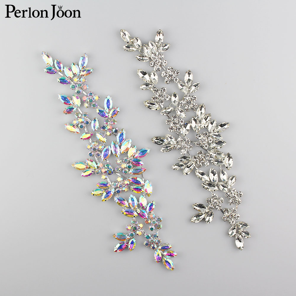 Ab Crystal Rhinestone Applique Welding Flower Patch Sew On Wedding Dress Sleeves Accessories YH Z006