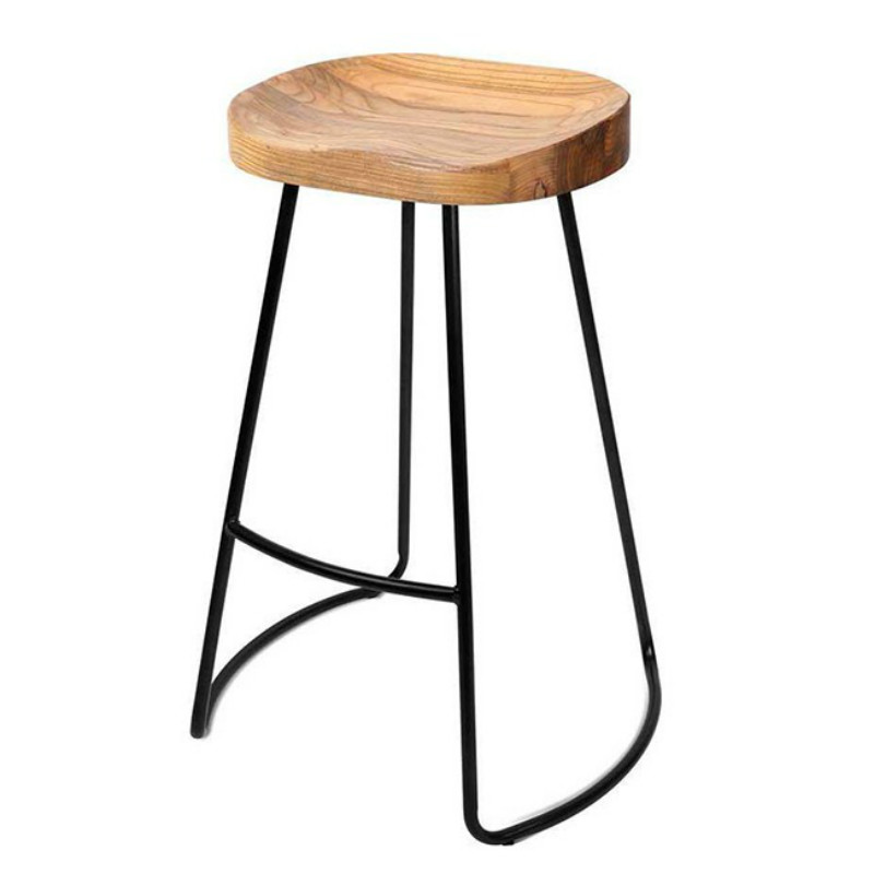 American Loft Industrial Style Solid Wood Iron Bar Chair Bar Stool High Chair Retro Casual Coffee Dining Chair