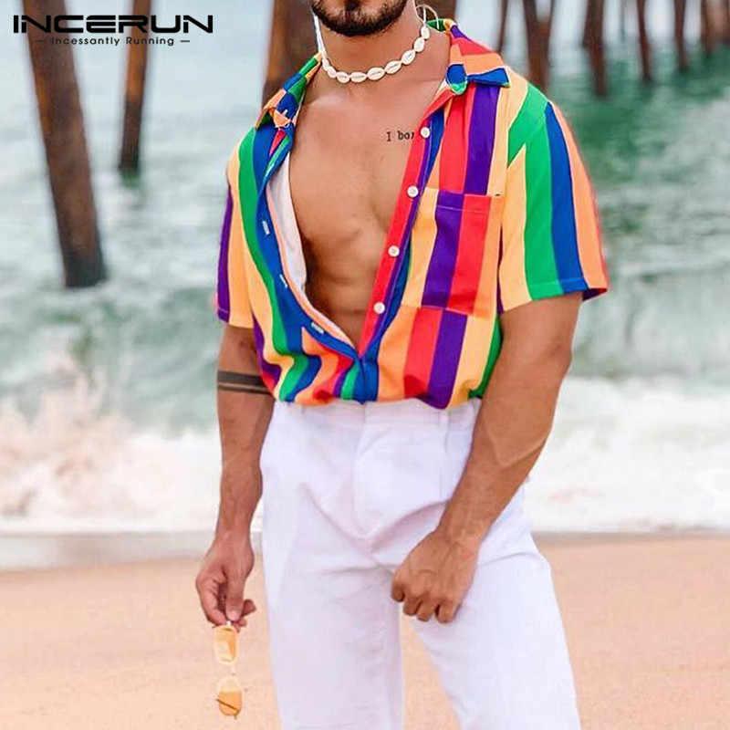 INCERUN ファッション男性シャツ半袖ラペルビーチストリートブラウスカラフルなストライプルーズカジュアルアロハシャツ夏 2020