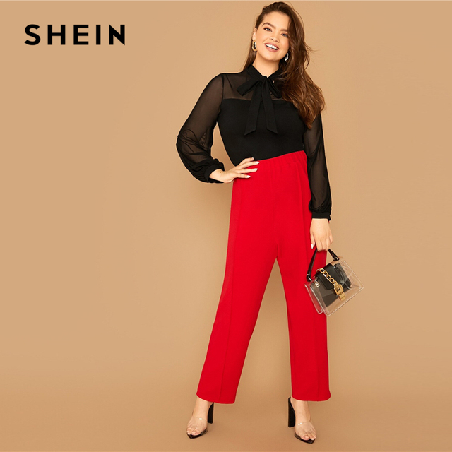 SHEIN Plus Size Black Tie Neck Mesh Sleeve Top Blouse Women Autumn Stand Collar Office Lady Womens Elegant Tops and Blouses 4