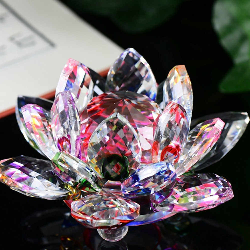 קריסטל ברבור לוטוס קריסטל זכוכית איור משקולת נייר קישוט פנג שואי דקור אוסף קישוט פנג שואי דקור אוסף