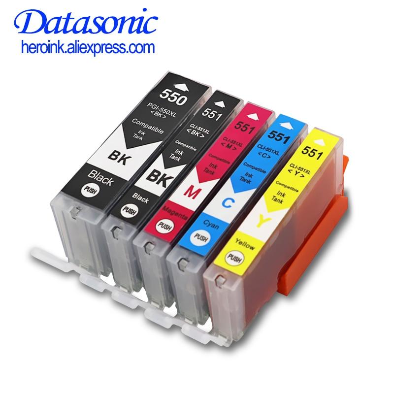 Чернильный картридж DAT 5PK pgi550, чернильный картридж для canon PGI550, CLI551, PIXMA IP7250, MG5450, MX925, MG5550, MG6450, MG5650, MG6650, MX725