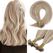 VeSunny Blonde U Tip Extensions Human Hair Dark Ash Blonde Highlight Bleach Blonde U Tip Keratin U Tip Hair Extensions