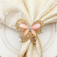 Free Shipping 24pcs Napkin Rings Pink Butterfly Rhinestone Napkin Holder Wedding Decoration Dinner Parties Kitchen Table Decor
