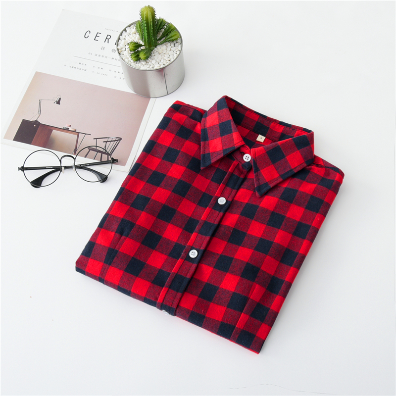 2020 New Women Blouses Brand New Excellent Quality Cotton 32style Plaid Shirt Women Casual Long Sleeve Shirt Tops Lady Clothes 12