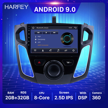 Harfey Android 9.0 Car Stereo 9 GPS Player For Ford Focus 2011 2012 2013 2014 2015 Head Unit Radio SWC Rearview Camera TPMS image