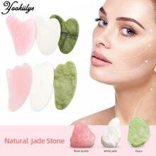 Natural Jade Gua Sha tablero raspador masaje de cuarzo rosa Jade Guasha piedra Chin cuello de la cara de arrugas removedor de belleza
