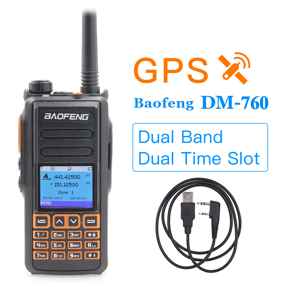 Baofeng DM-760 GPS Dual Band Tier1&2 Tier Dual Time Slot DMR Analog Walkie Talkie DMR Radio Ham Radio