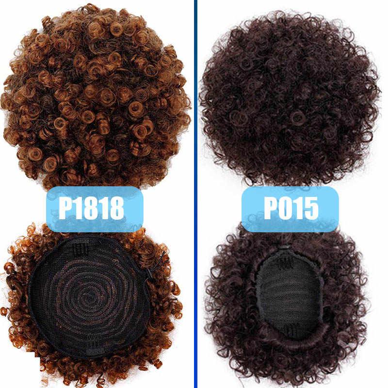 Koningin Vlecht Paardenstaart Hoge Hair Bladerdeeg Clip In Chignon Bun Haarstukje Afro Kinky Krullend Synthetische Trekkoord Paardenstaart Hair Extensions