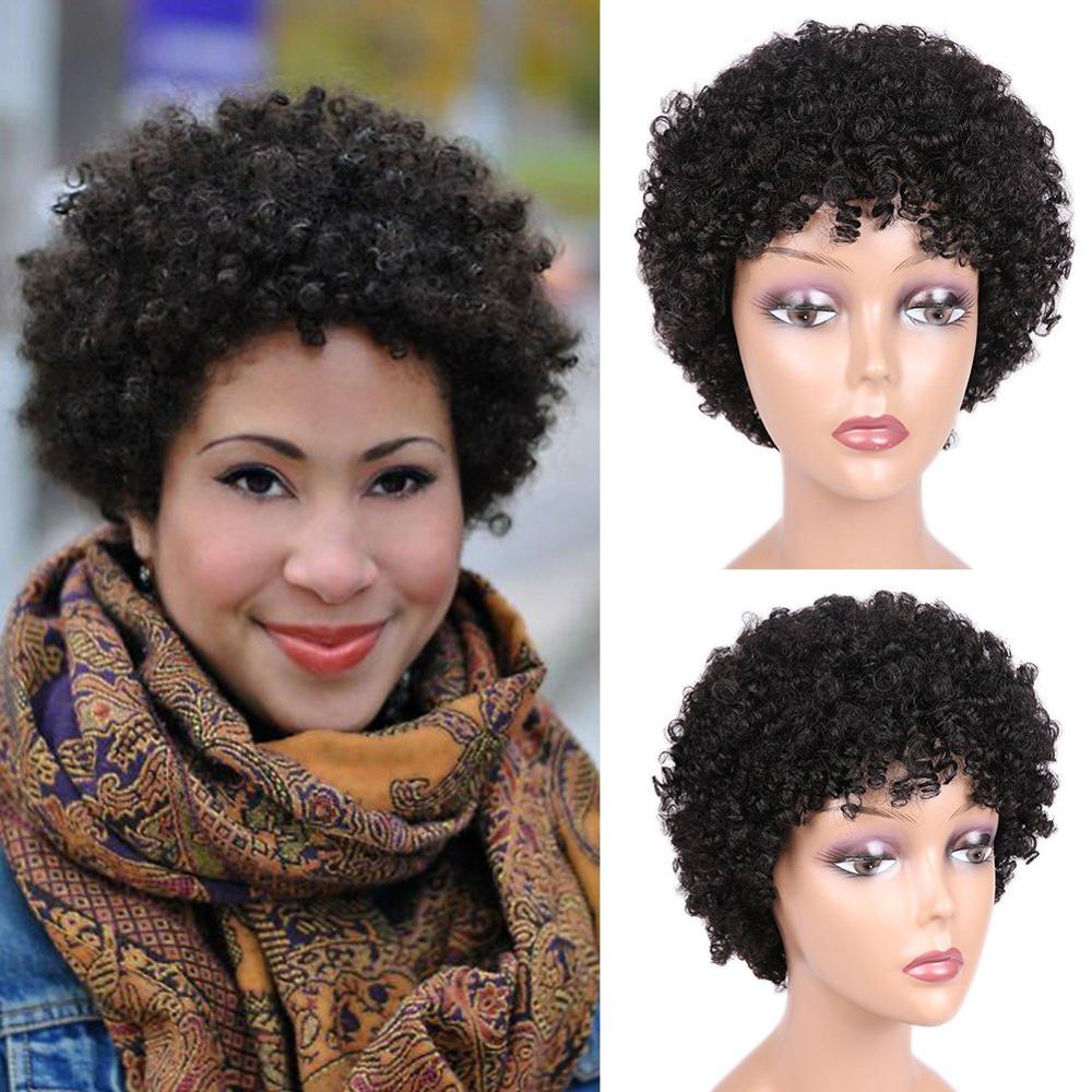 Short Afro Wig Brazilian Remy Human Hair Wigs Natrual Black Afro Kinky Curly Wigs For Black Women Natural Looking 6.5 Inches