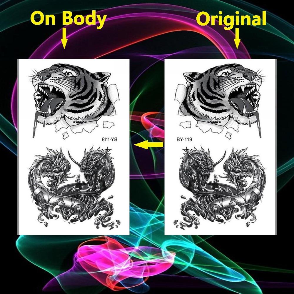 Cabezas De Dragones Para Tatuar €0.27 |2019 tatuajes de cabeza de tigre dragones enredados flash tatuaje  falso arte corporal pierna tatuaje temporario pegatinas tatuajes tatuagem