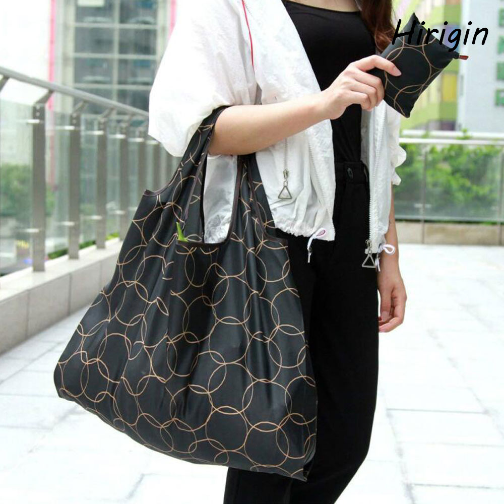 2020 fashion <font><b>Magic</b></font> style Nylon Large Tote ECO Reusable Polyester Portable Shoulder Handbag Green <font><b>Folding</b></font> Pouch <font><b>Shopping</b></font> <font><b>Bag</b></font> image