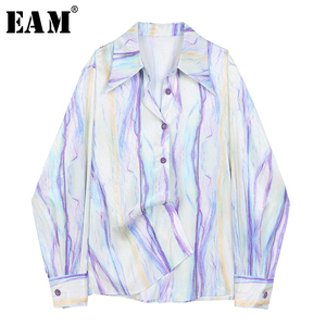 [EAM] Women Purple Pattern Printed Big Size Blouse New Lapel Long Sleeve Loose Fit Shirt Fashion Tide Spring Autumn 2020 1Z023