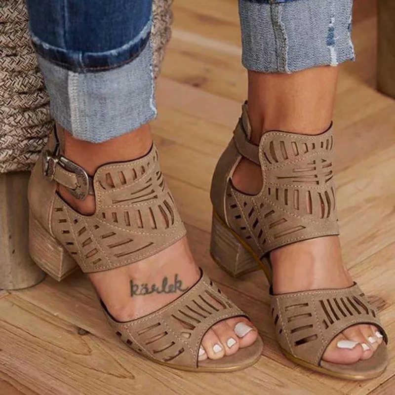 Neue Frauen Sandalen Wegdge Sommer Vintage Ankle Strap Elegante Damen Schuhe High Heel Runde Kappe Peeling Weibliche Sandalen Pumpen