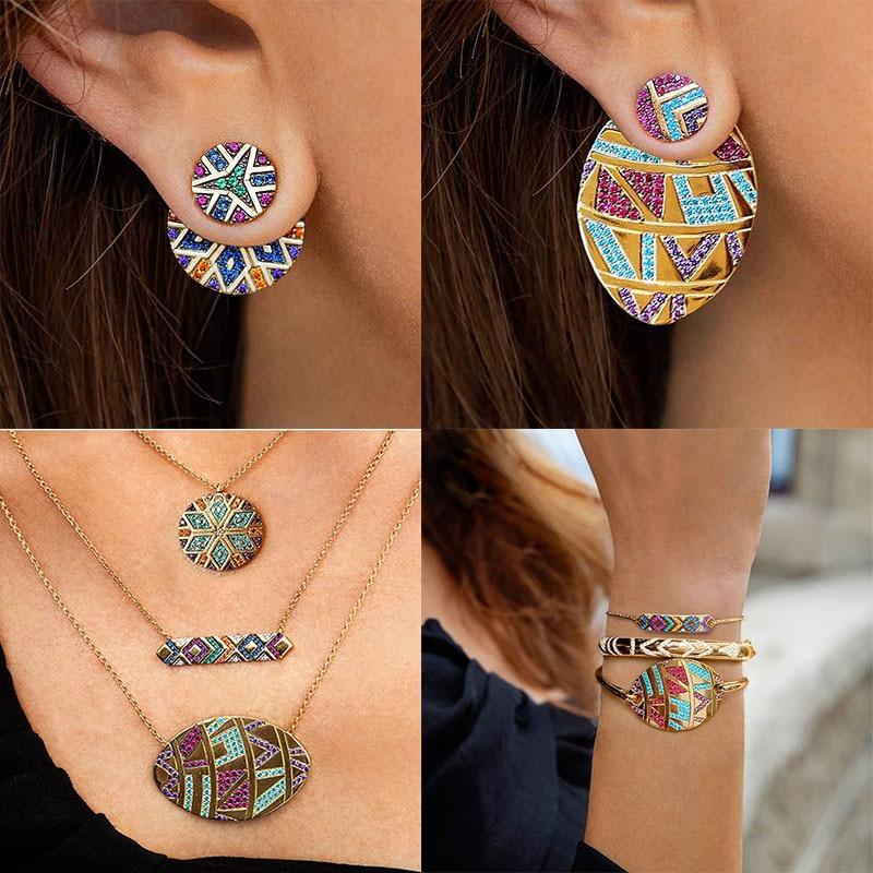 4Pcs/Set Ethnic Rainbow Necklace Earrings Rhinestone Classic Tribal Jewelry Sets Bracelet Earring Necklaces Bohemia