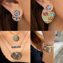 4Pcs/Set Ethnic Rainbow Necklace Earrings Rhinestone Classic Tribal Jewelry Sets Bracelet Earring Necklaces Bohemia цена 2017