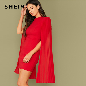 Image 3 - SHEIN Red Solid Pleated Cape Party Bodycon Dress Without Belt Women 2019 Autumn High Waist Cloak Sleeve Sexy Pencil Dresses
