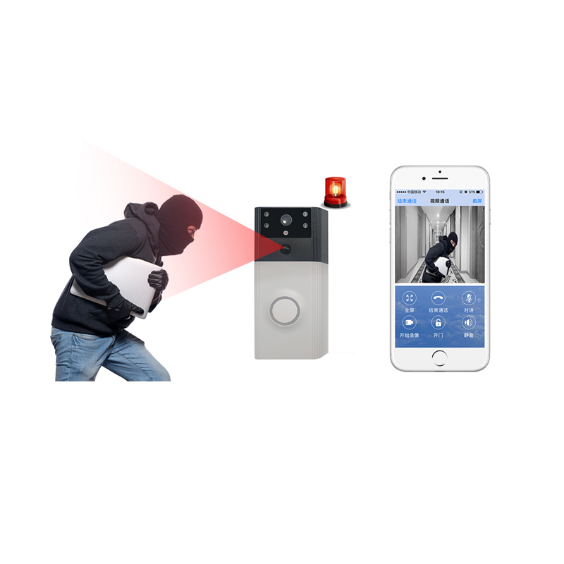 Rollup Wireless WIFI Doorbell Video PIR Motion Detection Alarm Door Bell GSM 2 Way Intercom Remotely Security Monitor HD 2.0mp