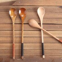 Wooden Soup Spoon Kitchen Cooking Teaspoons Condiment Utensil Long Handled Coffee Tea Spoons 20x3cm