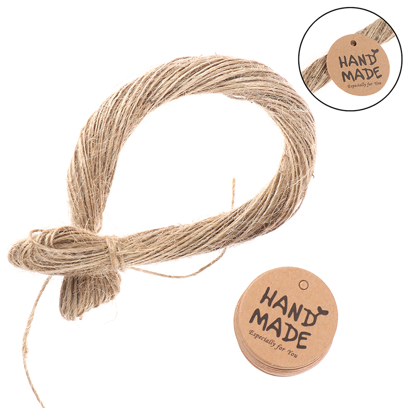 100Pcs Round Handmade With Love Kraft Paper Hang Tags+20m Hemp Strings Garment Luggage Labels Mark Gift Paper Tags