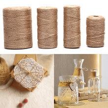 Cuerdas de lino de cáñamo hechas a mano, 50/80/100m, cordel de arpillera, bricolaje, decoración artesanal