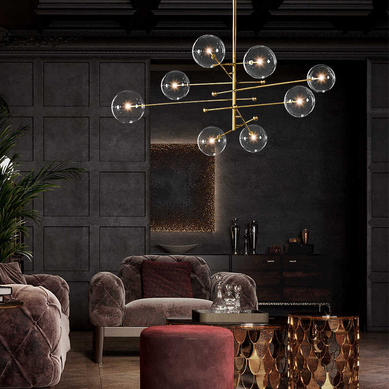 글로브 유리 공 샹들리에 조명 북유럽 현대 샹들리에 조명 매달려 램프 서스펜션 전등 식당 주방