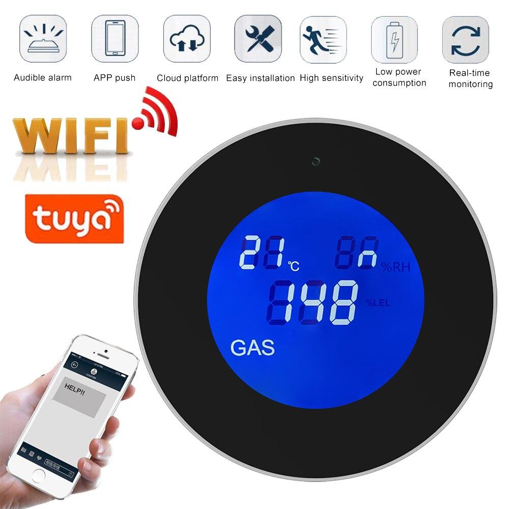 Tuya Wifi Smart Natural Gas Alarm Sensor With Temperature Function Combustible Gas Leak Detector LCD Display Smart Life App