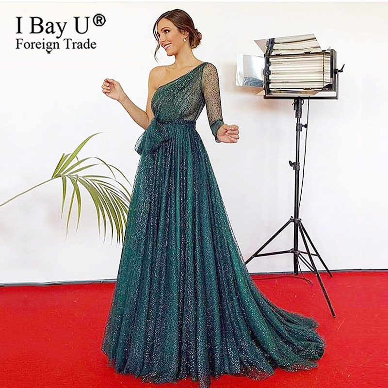 A Line Green Glitter Evening Dress Little Train Sparkling Formal Long Prom Dress Evening Gown