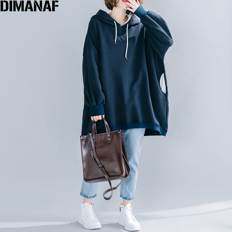 DIMANAF 2019 Plus Size Women Hoodies Sweatshirts Large Size Female Lady Patchwork Pullovers Cotton Loose Oversize Solid Tops