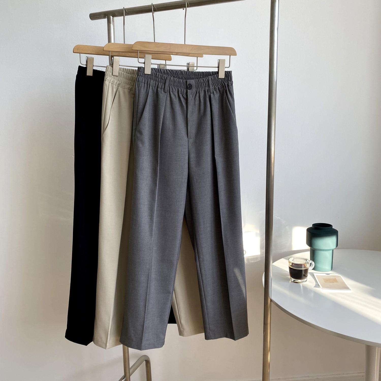 2020 Autumn New Solid Color Straight Suit Pants Women Loose Slimming High Waist Capri-Pants