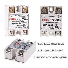 Relais à semi-conducteurs DC, contrôle AC SSR 10DA 25DA 40DA 10AA 25AA 40AA SSR sans couvercle en plastique SSR 40A DC