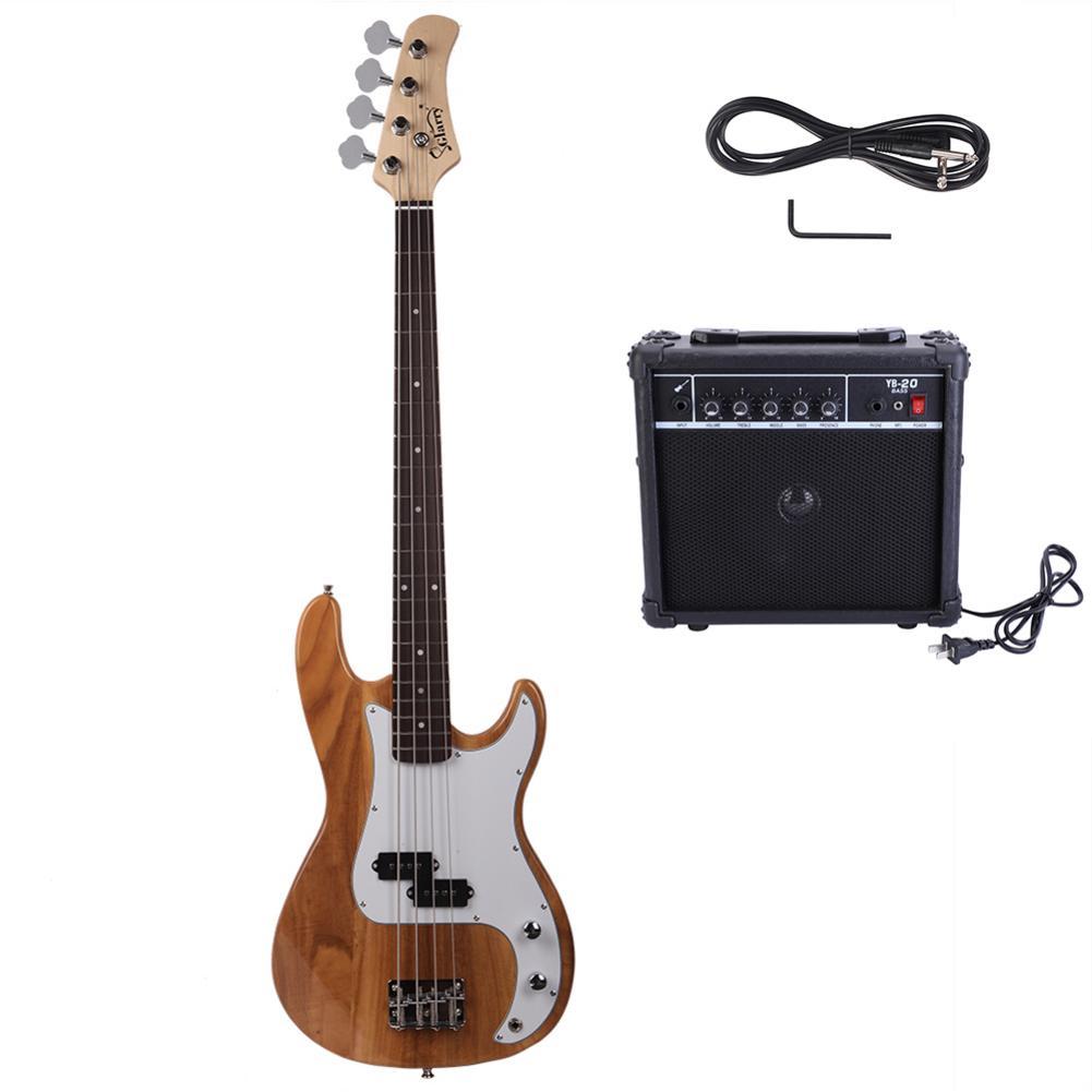 Glarry GP guitare basse électrique cordon clé outil Burlywood noir coucher de soleil trois couleurs 2019 nouveauté