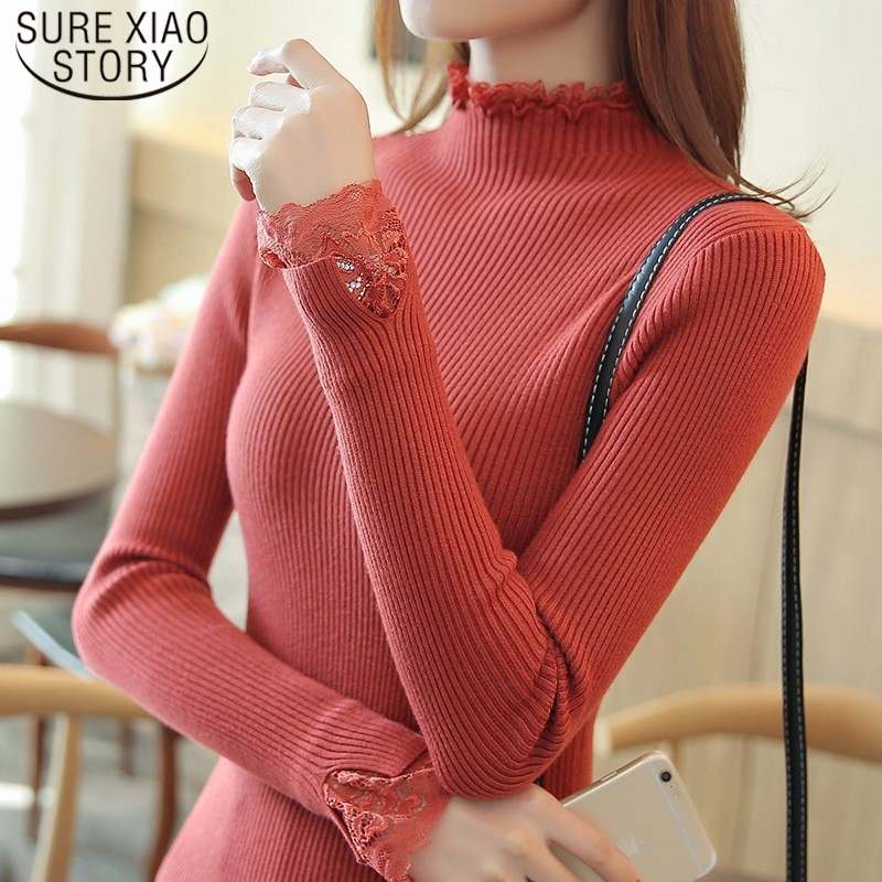 Slim Short Paragraph Bottoming Sweater Spring Half-high Collar Sweater Women Solid Color Lace Thickening Inside Sweater 7569 50