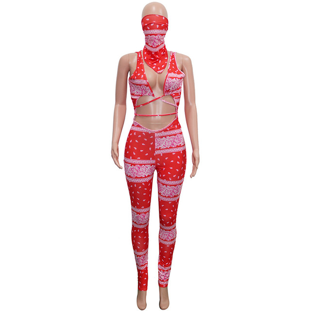 Beyprern Vintage Hollow Out Printed Laced Jumpsuit With Scarf Women Sexy Cut Out Bandage Long Pants Jumpsuit Romper Club Outfits 4