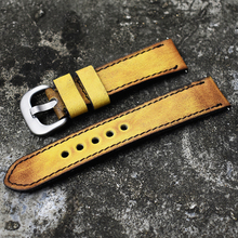 Onthelevel Vintage Watch Strap 20mm 22mm Yellow Black Blue Retro Style Watchband 24mm For Panerai With Silver Buckle  #C