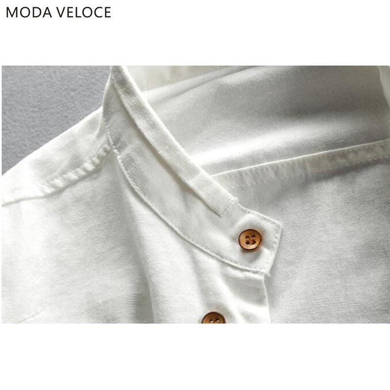 Men's Cotton Linen Shirts Long Sleeve Men Casual Slim Mandarin Collar Shirts High Quality Summer Beach Shirt plus size 6xl 5