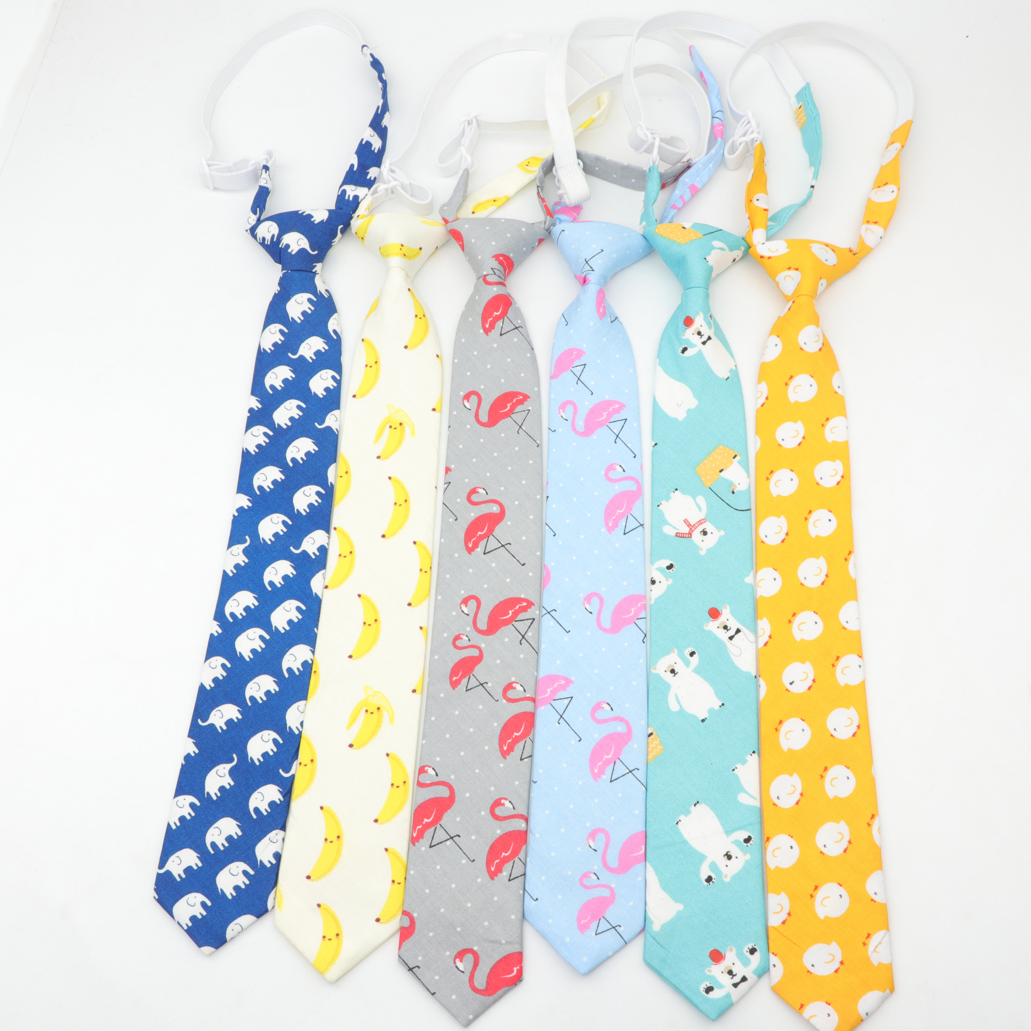 Cotton Kids Colorful Tie 5cm Width Duck Dog Fruit Floral Ties Boy Children Necktie Slim Skinny Cravate Narrow Thick Neckties