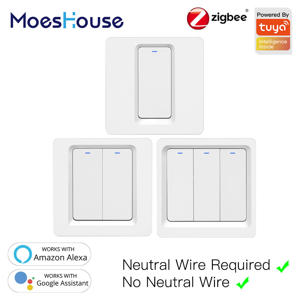 Tuya Zigbee Smart Switch Push Button Wall Light Switch No Neutral Wire And N+L Required ,Alexa Google Home Compatible