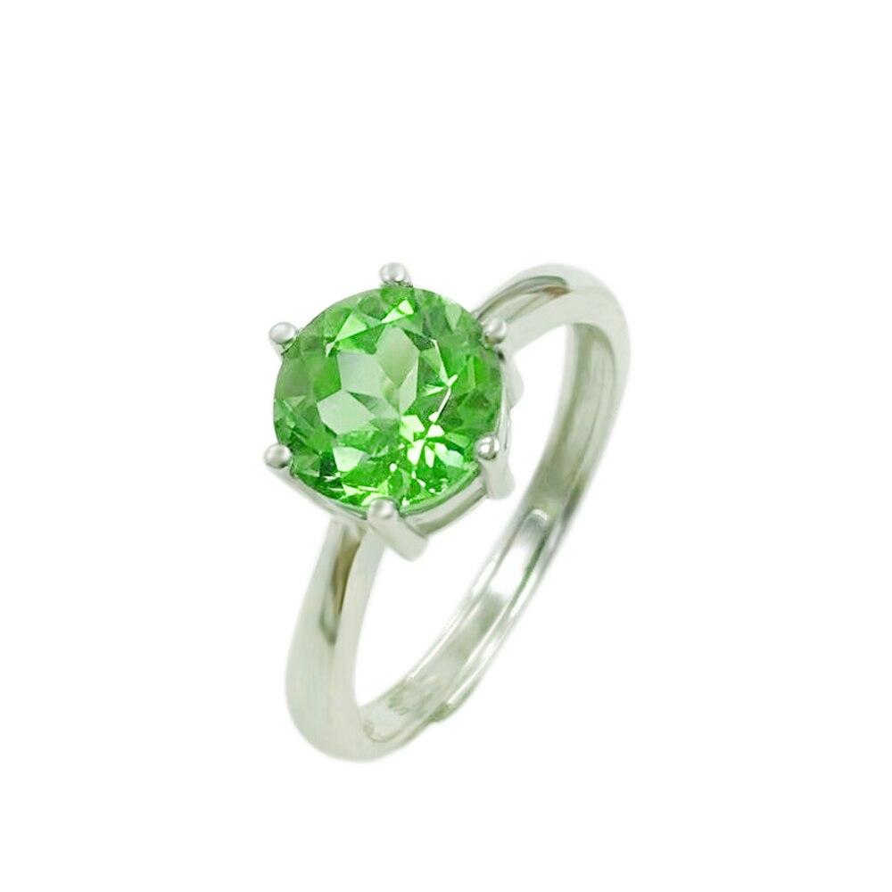 Xinyipeng naturel péridot anneau femmes cadeau de mariage 925 argent incrusté 8*8mm vert pierres précieuses bijoux