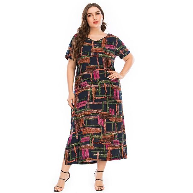 Plus Size Dressr V Neck Short Sleeve Colorful Plaid Print 2