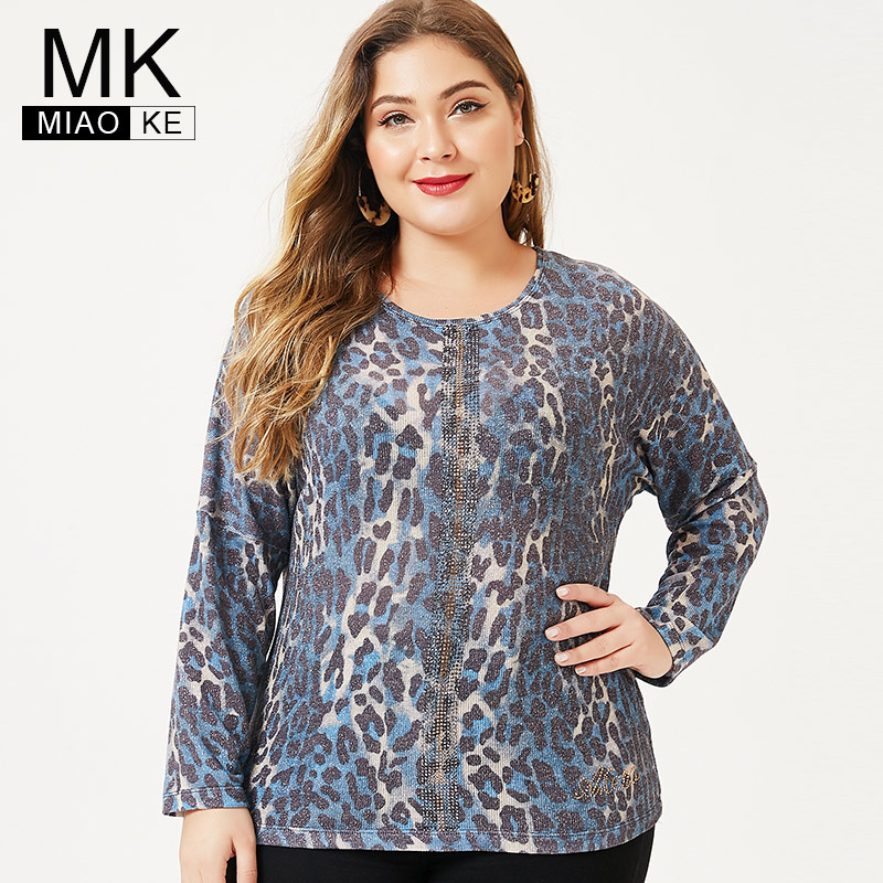 MK 2019 Autumn Plus Size Womens Long Sleeve Leopard T Shirt Fashion Ladies Femal Vintage Elegant Pastel Goth Tops And Blouses